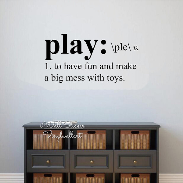 Kids Wall Sticker Play Room Quote Wall Decal Kids Room Decoration Play Quotes Wall Decor For Children Q287 Art Decals For Walls Wall Mural Decals