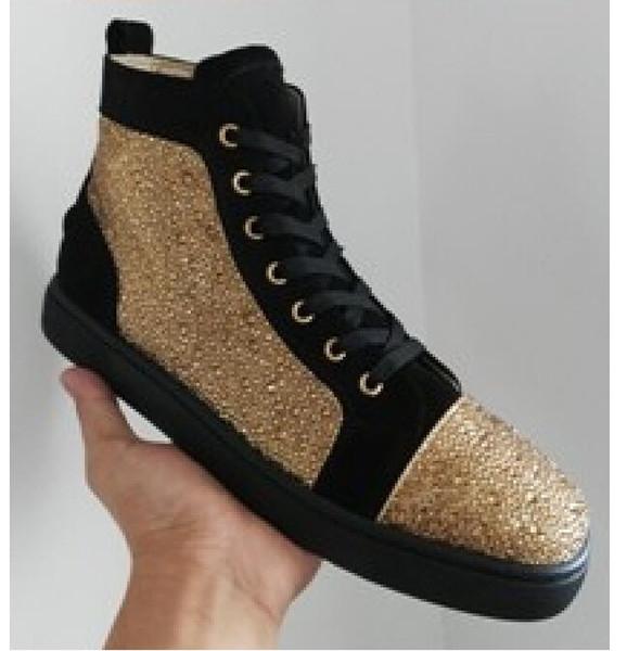 Mens black womens couro preto com picos de alta top sneakers, homens de design causal calçados esportivos Drop shipping qj1352959
