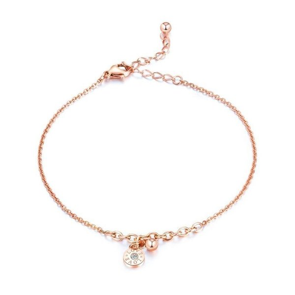 Fashion Women Rose Gold Chain Ankle Bracelet Titanium Steel Love Anklet Crystal Barefoot Sandal Beach C19041101