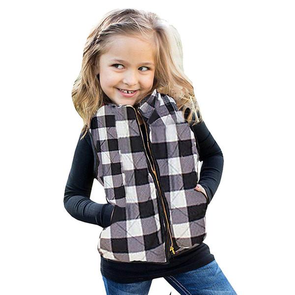 Baby Girls Boys Vests Children's Autumn Winter Cotton Warm Plaid Waistcoat Kids Thick Soft Coat Outerwear Clothes 12M-5T