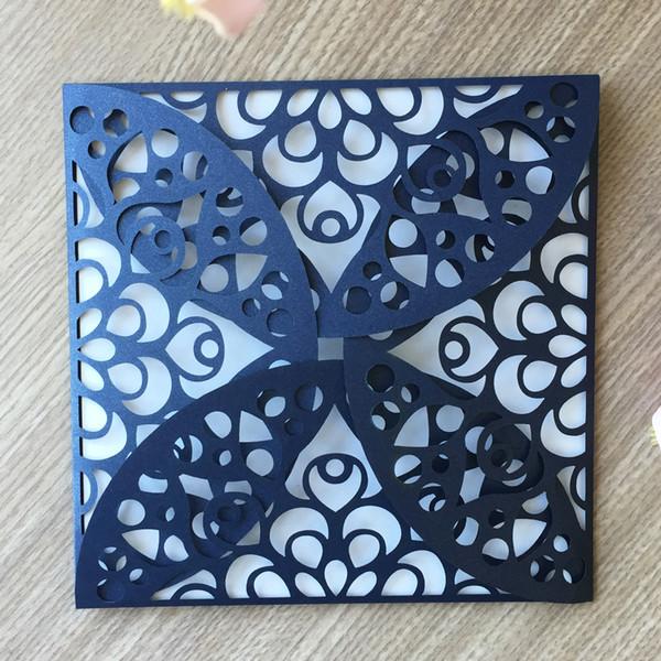 50PCS / lot Cinese tradizionale stile Hollow Flower Wedding Invitation Cards Fidanzamento Matrimonio Incontri Riunione d'affari Forniture