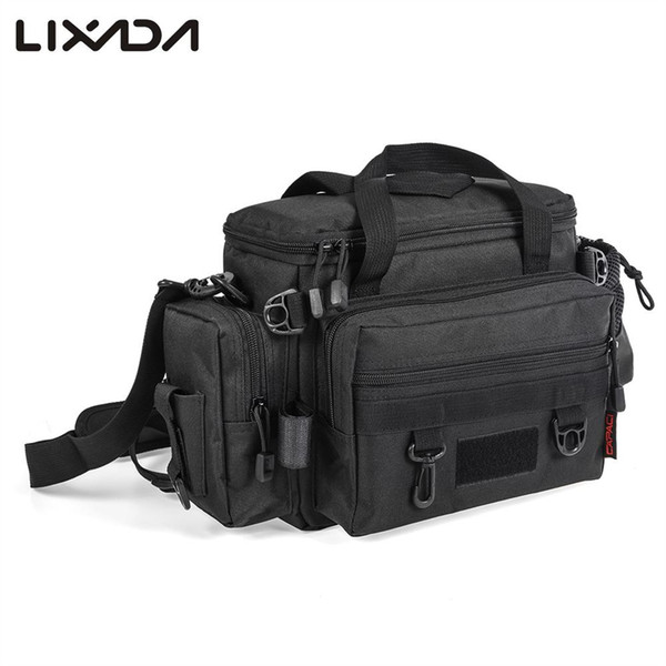 Lixada Waterproof Fishing Bag 40 * 15 * 22cm Large Capacity Multifunctional Lure Fishing Shoulder Bag for Pesca #42363