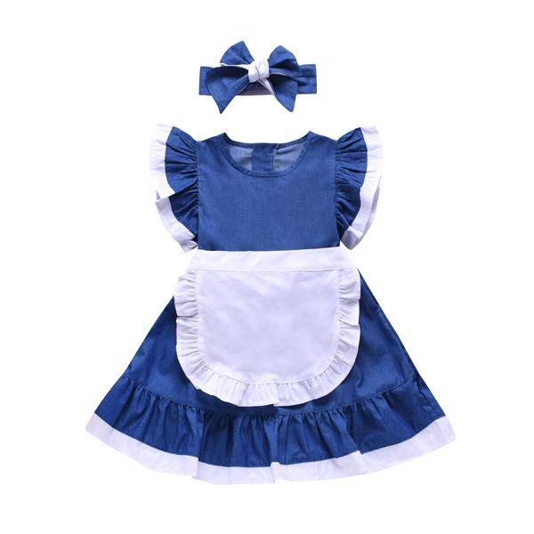 Mädchen kleidet Kindpatchworkfarbe falbala Fliegenhülse cinderella dress + Bows Stirnbänder 2pcs stellt Kinder cosplay Parteikleider F7030 ein
