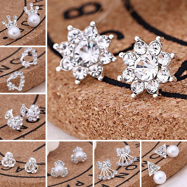 best selling With Card Pack Ear Back, 45 Styles Korean Earrings Creative Super Shiny Diamond New Pearl Stud Earrings Fashion Jewelry High Quality