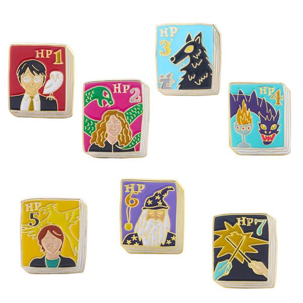 Creative Book Smalto SPILLI SPILLI HP Hermione Ron Figura Distintivo Donna Uomo Bavero pin Denim Camicia gioielli Regali carini