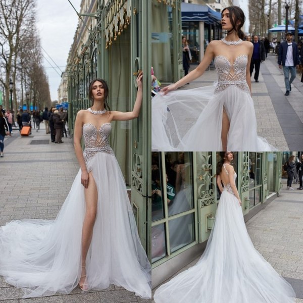 julie vino 2019 wedding dresses illusion jewel high side split lace appliqued bridal gowns backless sweep train a-line beach wedding dress - from $180.25