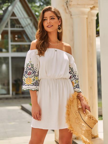 Оригинальный дизайн 2019 Женщины начале осени короткие юбки одно плечо Простой для путешествий Темперамент Off-плечу 3/4 рукава платья