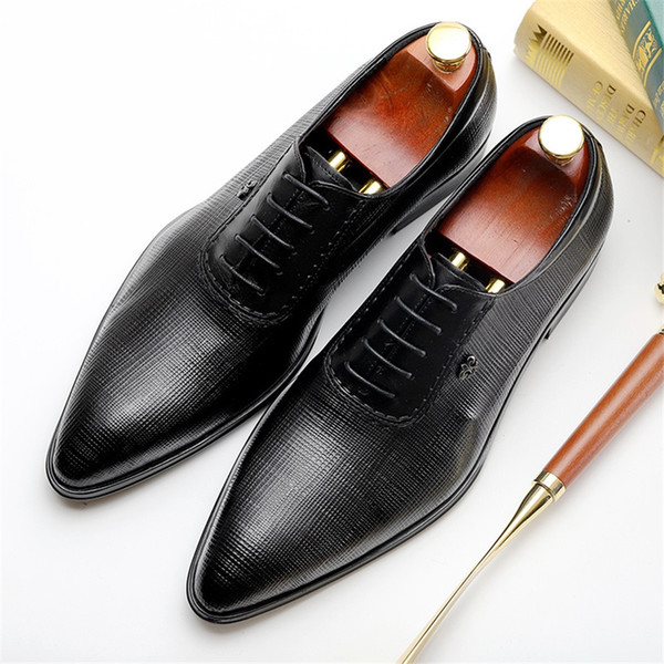 100% Genuine cow leather brogue Wedding shoes mens casual flats shoes vintage handmade oxford for men black wine red #7924