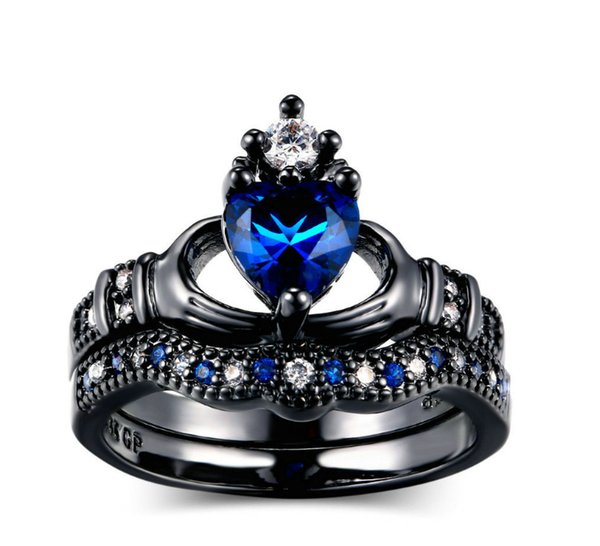 European American style fashionable black gold double layer holds sapphire heart type female crown queen's ring