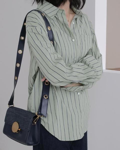Beiläufige lose Frauen Shirts 2019 Frauen Bluse Langarm Pockets gestreiftes weißes Hemd Tops für Frauen blusas mujer de moda 2019