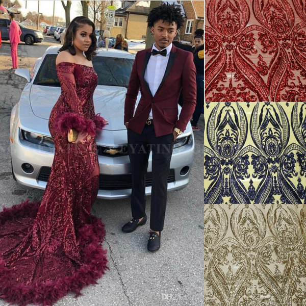 2019 Long Sleeves Mermaid Burgundy Prom Dresses with Luxury Sequins Feather Sparkly Party Evening Dresses Plus Size robe de soiree