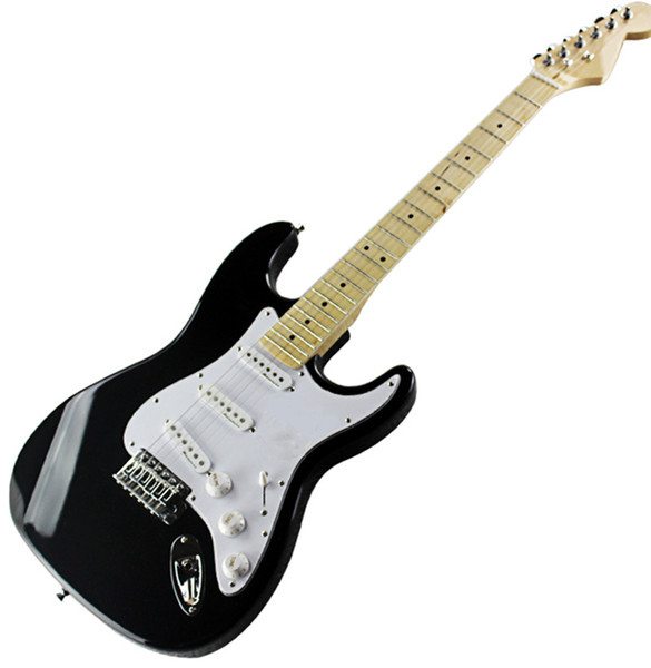 Hot Black electric guitar with white Pickguard,Maple Fingerboard,SSS Pickups, Chrome hardwares and closed knobs,pots frets.