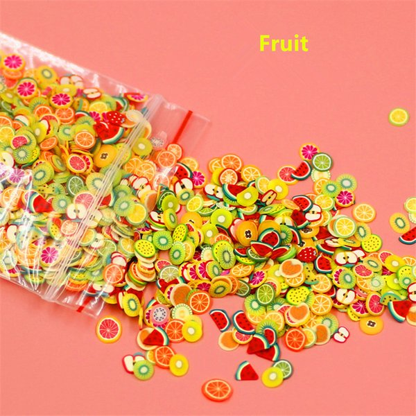 art New 1000pcs/pack Art 3D Fruit Fimo Slices Polymer Clay DIY Slice Decoration Nail Sticker Mixed Stype for Choice