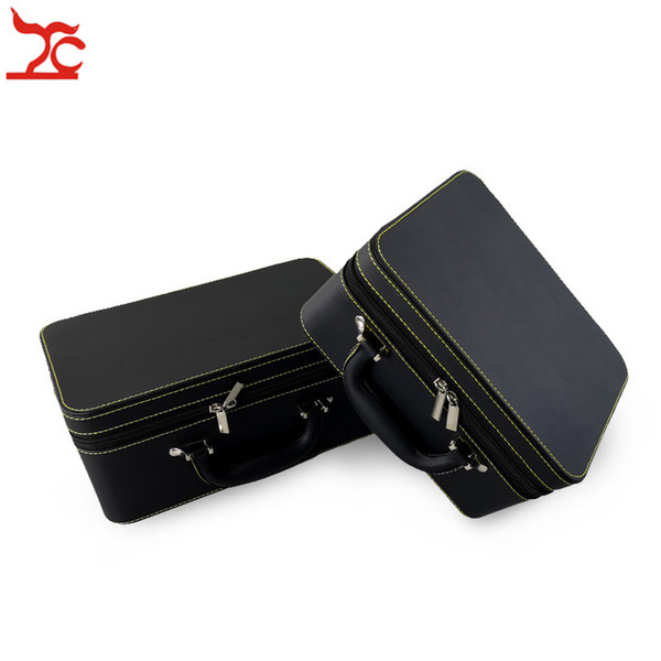 Luxury PU 2 Layers Large Capacity Black Makup Zipper Box 3 Layers Jewelry Organizer Case Earring Necklace Ring Travel Jewelry Hand Casket