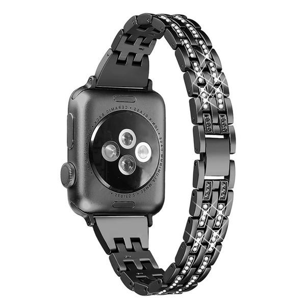 NEW Women Girls Watch Accessories Bling Diamond Alloy Metal Band For Apple Watch Series 1/2/3/4 Size 42/44mm 38/40mm Link Bracelet Strap
