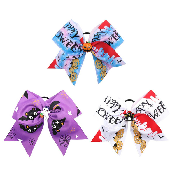 10pcs/lot Halloween 7'' Cheer Bows for Girls Handmade Funny Print Grosgarin Ribbons Hair Rubbr Band Ropes Party Gifts Kids Headwear