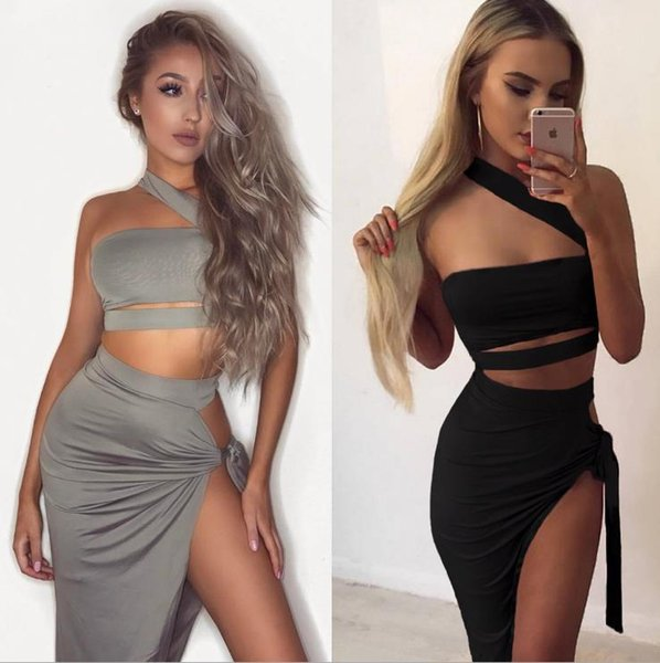 Women Clothes Two Piece Sets Bandage Tube Top Two-piece Black Gray Sexy Split Night Club Dress Women's Clothing Party Dresses