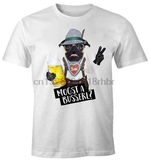 Oktoberfest Herren T-Shirt mogst a busserl Bayrisch Bayern Hund Mops Mass Bier