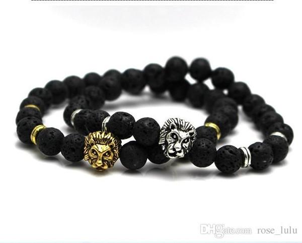 Regalo borda il braccialetto Buddha agata modo dei monili lava vulcanica pietra Lion Head braccialetto di perline di mm 8 e Roccia vulcanica Persone Gioielli Yoga