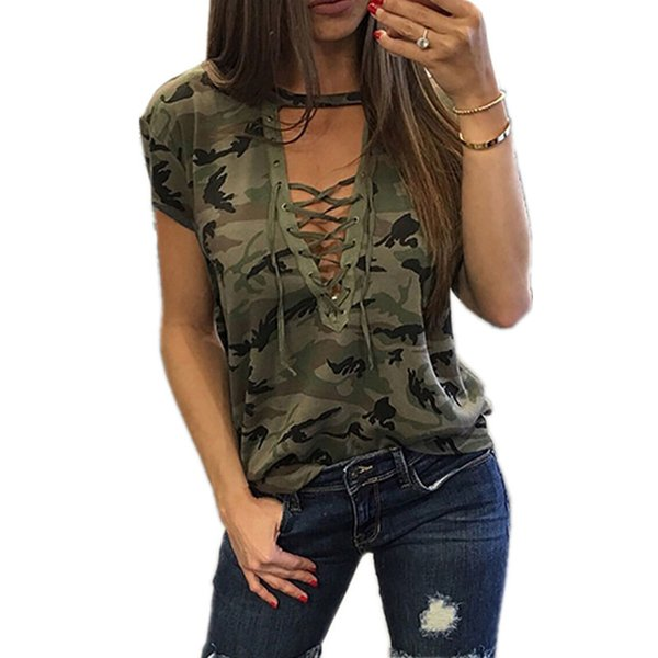 Мода Новые Женщины Дамы С Коротким Рукавом Камуфляж Свободная Блузка Лето Зашнуровать Случайные Блузки Рубашки Топы