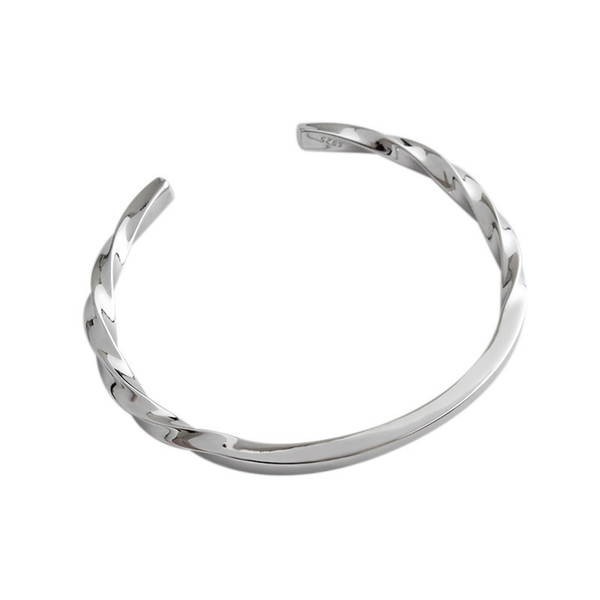 Sterling Silver 925 Jewelry White Gold Color Twist Open Bangled For Women Wedding Party Gifts 100% 925 Sterling Silver Statement Bangle