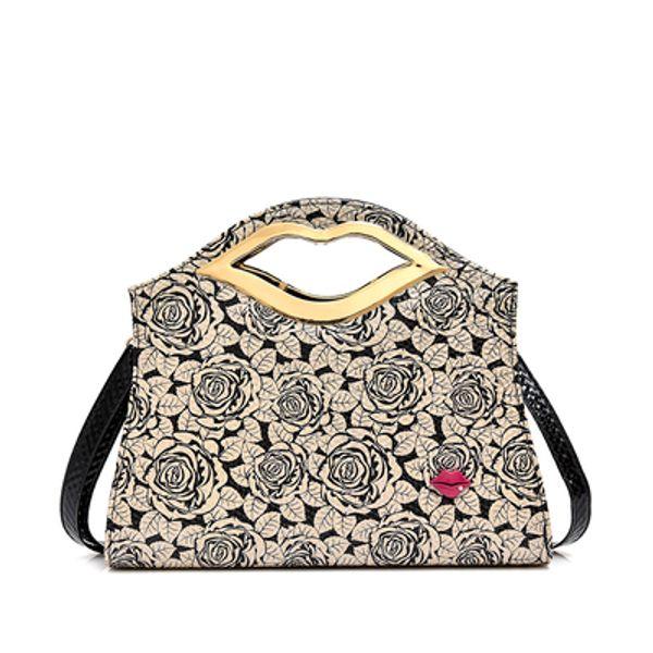 La donna di modo del progettista di alta capacità labbra rosse Borse Borsa a tracolla lusso Cross Body Flap borse Clutch bag totes borsa di leopardo spedizione gratuita