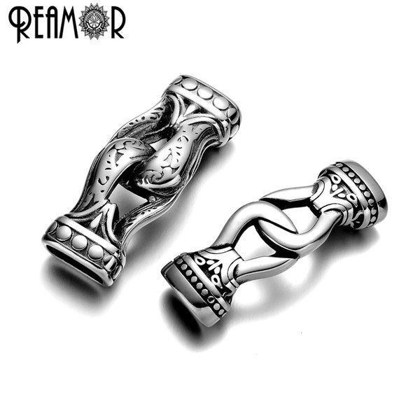 REAMOR 316L Stainless steel Connectors For Bracelet Jewelry Making 12*6mm Hole Metal Accessories DIY Leather Bracelets Findings