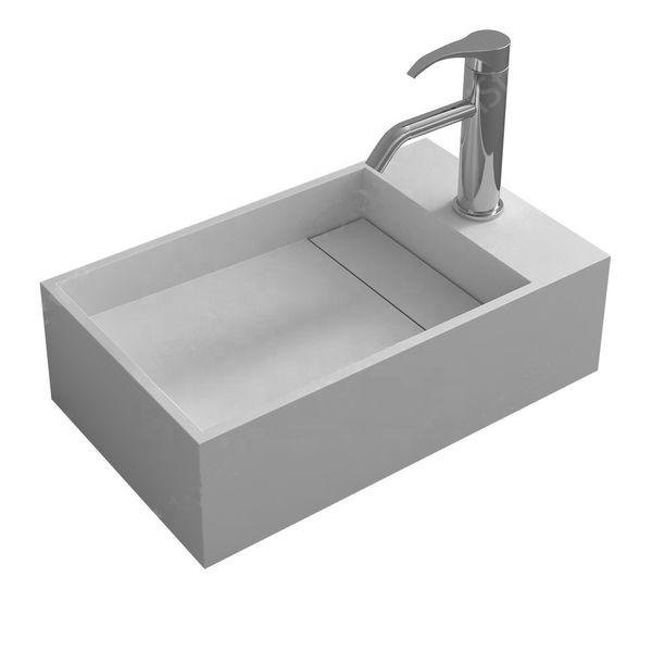 Bathroom Rectangular Solid Surface Resin Lavabo Washing Sink Fashionable Cloakroom Corian Wall Mounted Vanity Wash Basin RS3816