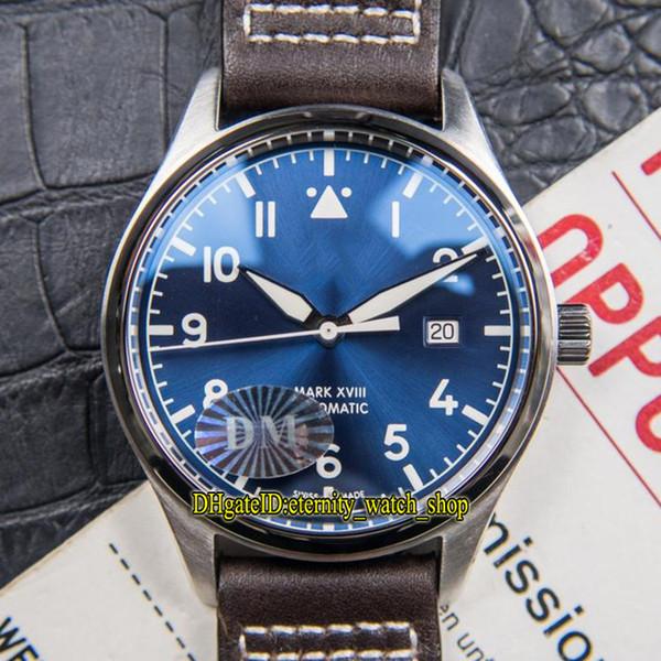 DM Beste Version Mark XVIII Pilot IW327010 Blaues Zifferblatt ETA 2824 Automatische Herrenuhr Saphir Titan Metall silbrig Fall Leder Sportuhren