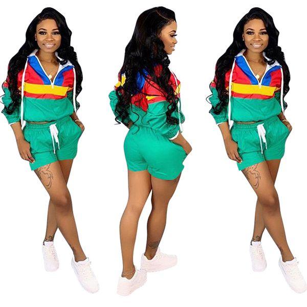 Yaz Moda Tasarımcısı Kadın Hoodie Şort ile 2 Parça Set Eşofman Üst Spor Spor Boyut S-3XL