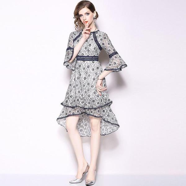 Floral Long Sleeve Lace Dress for Women Elegant Dress Autumn Flare Sleeve Slim Fit Print A Line Dress