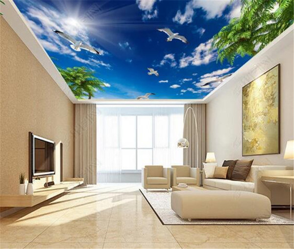 Modern 3D Wallpaper Blue Sky And White Clouds I Seagull Leaves Wallpaper Home Interior Living Room Ceiling Hall Mural Wall Wallpapers Hd