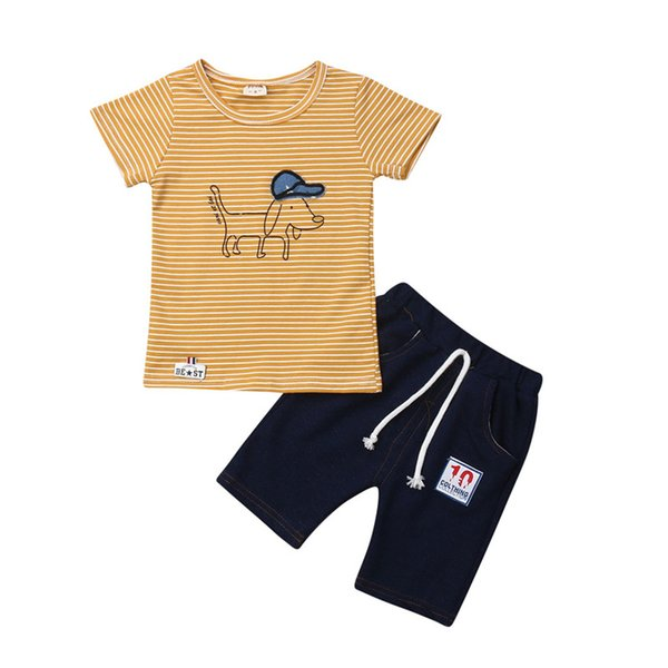 Fashion Toddler Kids Baby Boy Summer 2Pcs Sets Striped Dog Tops T-shirt+Lace-up Denim Shorts Outfits Boy Cotton Clothes 9M-4Y