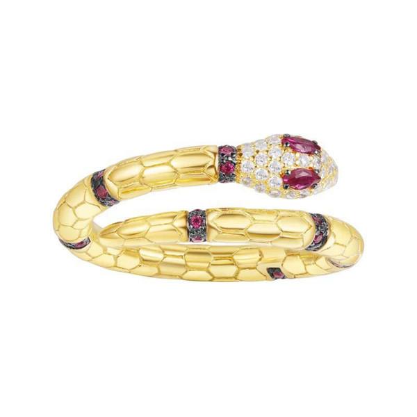 SLJELY Bonne Qualité 925 Sterling Silver Gold Couleur Cubique Zircone Cristal Serpent Serpent Bague Égypte Monaco Femmes Bijoux De Luxe