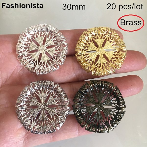 20 pcs Brass Filigree Settings 30mm rolled-up Brass Settings For Crafts Making,Silver-color,Steel Color,Bronze,Raw Brass