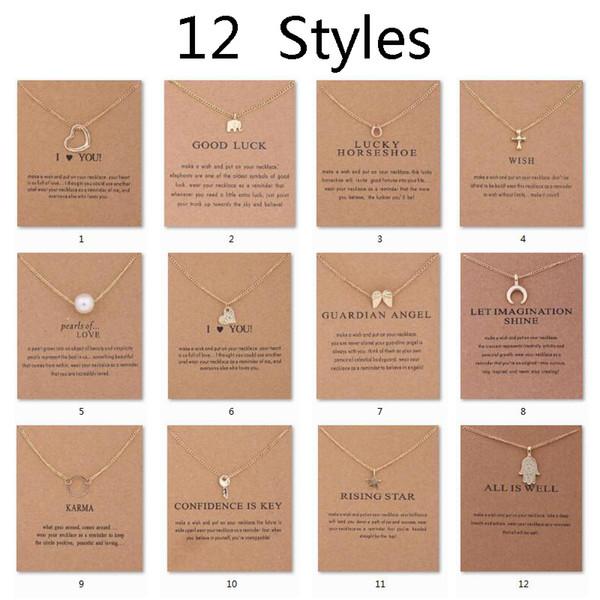 12 estilos dogeared gargantilha colares com cartão círculo de ouro elefante pérola amor asas cruz chave pingente de colar para as mulheres de jóias