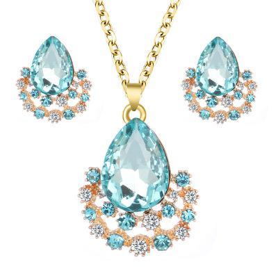 Fashion Bridal Engagement Plated Crystal Pendant Necklace Trendy Elegant Rhinestone Gemstone Earrings Women Wedding Jewelry Sets 432