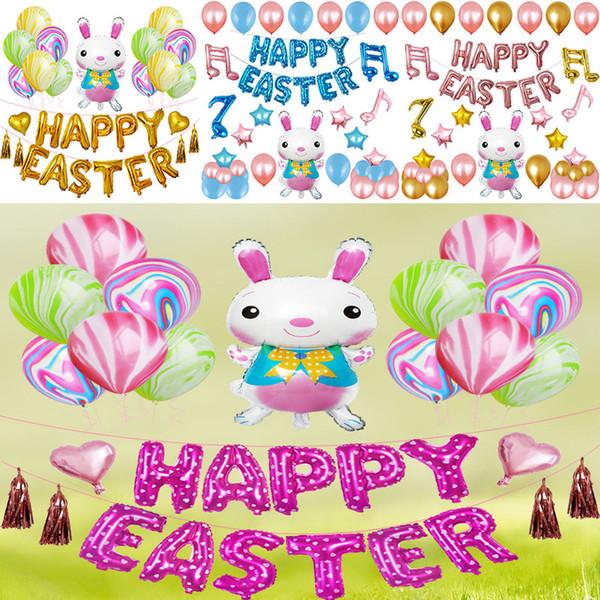 Easter Day Balloon Party Decorative Sets Cartoon Rabbit Bunny Shape Aluminum film Balloon Decor Kits 12inch Free DHL WX9-1229