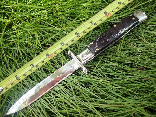 Новый стиль 9-дюймовый черный рог Итальянский стиль Святой покровитель Складной клинок Карманные ножи двойной AUTO 440 лезвие из нержавеющей стали Ножи для кемпинга