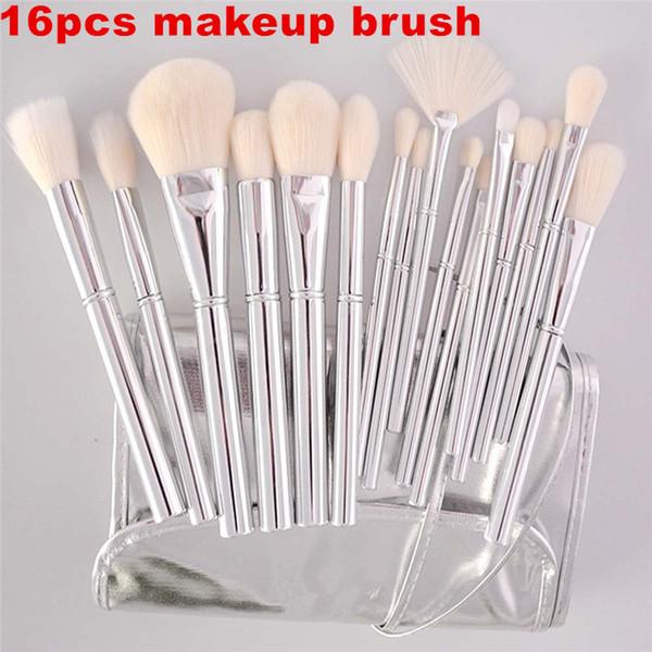 Silver Tube Brush 16pcs set Makeup Brushes Jenner Silver Tube Brush 16pcs set con bolsa Makeup Brushes