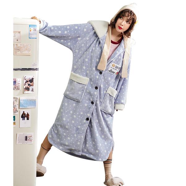 Winter Warm Hooded Bathrobe Women's Robes Flannel Sleepwear Femme Bathrobes Kimono Dressing Gown Nightgowns Plush Robes Fashion