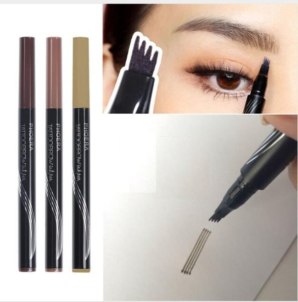 3 Kleuren Wenkbrauw Tattoo Pen Fijne Schets Liquid Wenkbrauw Pen Waterdicht Tattoo Vork Tip Eye Brow Potlood Eyelash Growth Serum Eyelash Serum From