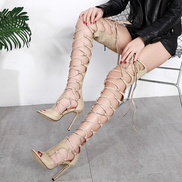 Women's Strappy Over The Knee High Heel Gladiator Sandals Lace Up Bandage Summer Sexy Party Shoes European T Stage Street Hollow