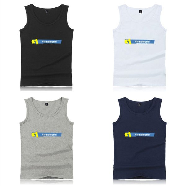 Fortnite Game Victory Royale Fortnite Printed Summer Round Neck Vest Sleeveless T-shirt Casual Cotton Mens T-shirts Tops 8 Designs 138