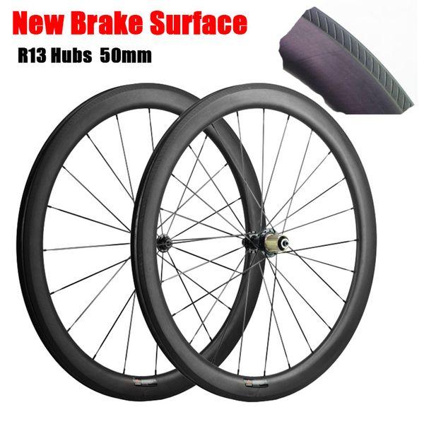 50mm Karbon Tekerlek Yol Bisiklet Tekerlekleri Powerway R13 Hub Tam Karbon Fiber Bisiklet Tekerlek Kattığı Tübüler 3 K UD