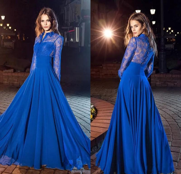 Amazi A-Line Royal Blue Lace Prom Dresses With Long Sleeves High Neck Covered Button Back Cheap Evening Dresses Formal Gowns