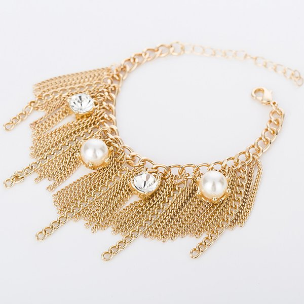 European lady exaggerates pearl crystal tassel bracelet