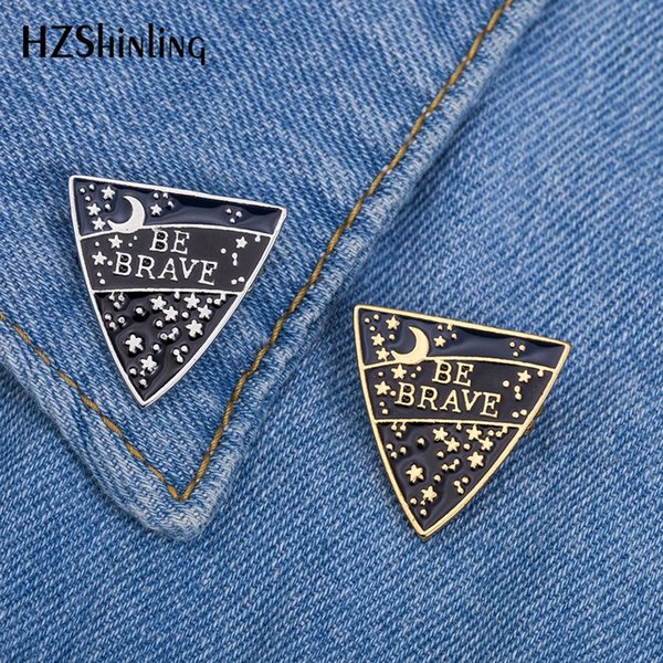 2019 New Be Brave Enamel Pin Badge Silver Gold Breastpin Moon Stars Brooches Trendy Brooch Pins Gifts Friends EB0037