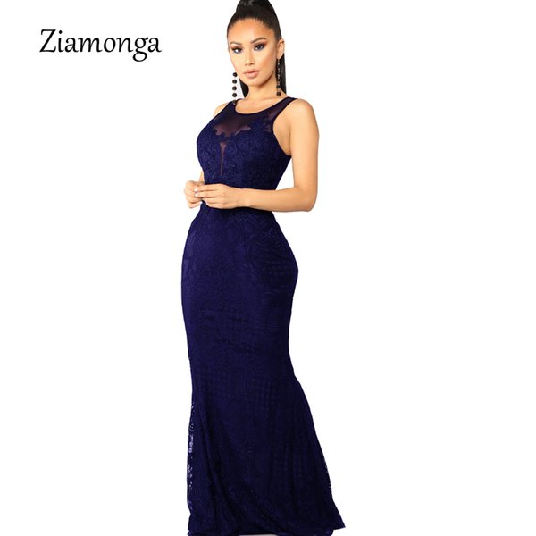 Ziamonga Elegant Floral Lace Party Dress Women Sexy Black Lace Maxi Dress Lady Long Evening Gown For Wedding Party