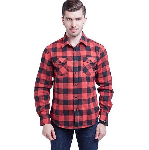 Hot vendas homens xadrez Flanela bolso no peito dos homens casuais camisas de manga comprida Chemise Homme Mens Xadrez Camisas plus size M ~ 3XL